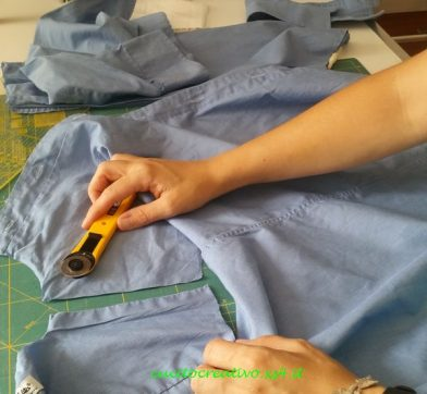 tagliare una camicia per riciclare il tessuto taglio frontale