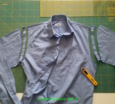 camicia con maniche tagliate