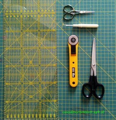 cosa ci serve, base di taglio, rotary cutter, forbici, tagliasole